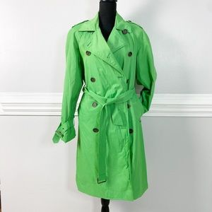 Anne Klein Bright Lime Green long rain trench coat